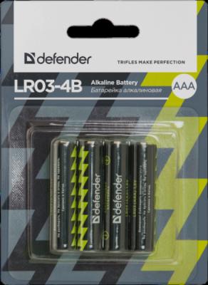 Батарейка алкалиновая LR03-4B AAA, в блистере 4 шт